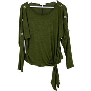 New Directions Size Small Button Sweater Green